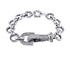 Casual Clear AAA Cubic Zirconia Pave Buckle Open Circle Link Bracelet-ADJ