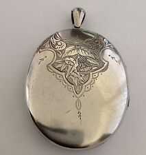 Fine Impressive Victorian Sterling Silver Large Oval Hinged Locket - Circa 1890