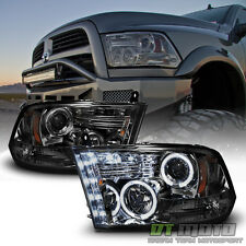 Smoke 2009-2017 Dodge Ram 1500 2500 3500 Halo LED Projector Headlights Headlamps