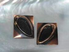 Vintage Large Copper with Raised Open Teardrop Rectangle Clip Earrings – 1.25 x