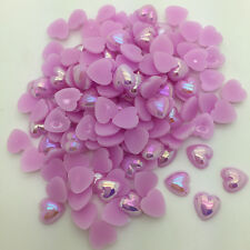DIY 100pcs 8mm Heart-Shaped Pearl Bead Flat Back Scrapbook For Craft Purple