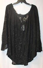 NEW WOMENS PLUS SIZE 3X BLACK LACE OFF THE SHOULDER SHIRT TOP LAYERING PIECE