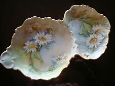 ANTIQUE T&V LIMOGES HAND PAINTED DIVIDED FISH PLATE, SEAFOOD DISH, DAISY & GOLD