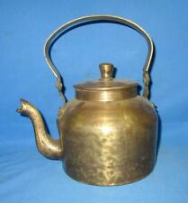 Indian Asian 1900's Antique Old Collectible Hand Carved Brass Tea Pot kettle
