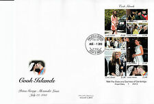 Cook Islands 2013 FDC Royal Baby 7v M/S Cover Birth Prince George William Kate