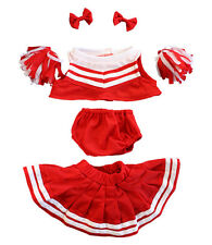 """Bear Clothes Red White Cheerleader Costume to fit 15"""" build a bear plush teddy"""