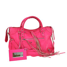 Auth BALENCIAGA THE CITY Editor's 2way Hand Bag Pink Embossed Leather VTG L00512