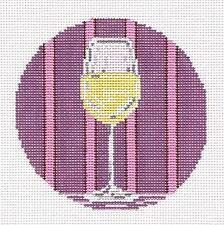White Wine Glass Drink Ornament handpainted Needlepoint Canvas Needle Crossings