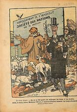 Caricature Politique SDN Berger Georges Clemenceau & Wilson 1919 ILLUSTRATION