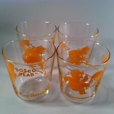 Rare Vintage Bosco Bear Chocolate Drinking Glasses Lot of 4