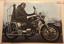 Vintage Poster High Speed Motorcycle Man & Custom Chopper Pin-up 1970's Biker