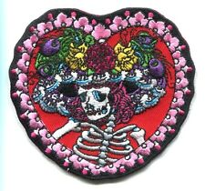 SUGAR SKULL flower hat lady in heart IRON-ON PATCH dia de los muertos -y ph528