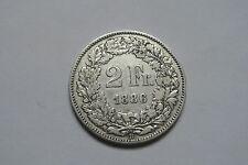 SUISSE 2 FRANCS ARGENT 1886 B TB À TTB