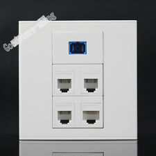Wall Socket Plate 3 port RJ11+ One SC Fiber & RJ45 Cat5e Panel Faceplate