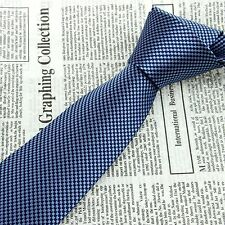 Navy Blue Floral Men's Neck Tie 100% Silk Jacquard Woven Classic Wedding Necktie