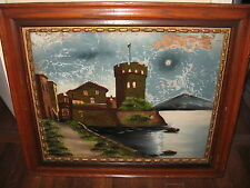 Antique Original Reverse Painted Castle by Water Painting w Gilt Trim Wood Frame