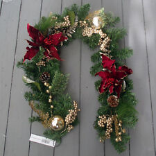 Artificial 5ft Luxury Christmas Decorated Pine Garland - Gold & Burgundy