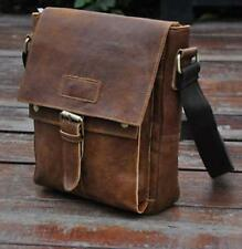 "Men's Genuine Leather Cowhide Vintage Brown 10"" Satchel Shoulder Messenger Bags"