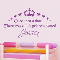 Personalised Girl's Princess Wall Sticker Crown Butterfly Decal Vinyl Transfer