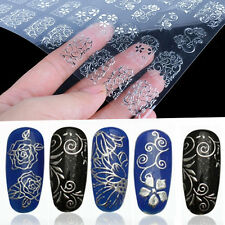 108Pcs Lots 3D Silver Flower Nail Art Stickers Decals Stamping DIY Decor