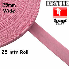 25mtr Roll 25mm Wide BIAS TAPE PINK 100% Cotton Trim Edge Binding Webbing Seam