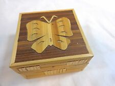 """Butterfly Trinket Box Bamboo Wood 3.5"""" Hinged Lid Felt Lined Philippines"""