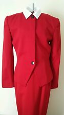 CHRISTIAN DIOR Red Wool skirt suit Size 8 PARIS NEW YORK womens SIZE 8 VINTAGE