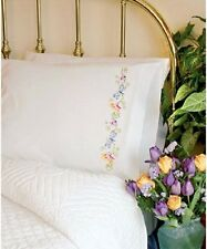 "Crewel Embroidery Kit WHIMSICAL BUTTERFLIES PILLOW CASES Set of 2 ~ 20"" x 30"""