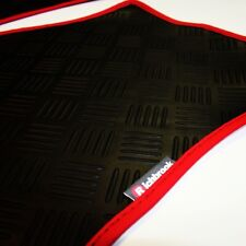 Ferrari 575 M (02-06) Richbrook 3mm Black Rubber Car Mats - Red Leather Trim