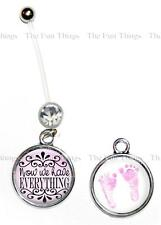 CZ Maternity Belly Ring Pregnancy Navel 14ga Now We Have Everything Baby Feet