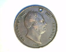 1831  Great Britain, One Penny, High Grade w/hole, Circulated Copper (UK-307)