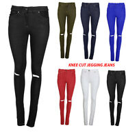 Skinny Womens Jeans Stretchy Jeggings Ladies Knee Cut Fit Coloured Trousers Size