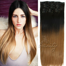 16 Clips Clip in Full Head Ombre Long Hair Extensions Natural Black & Dark Brown