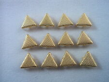 "12 Gold Tone Stippled Triangle Studs Clothing Decoration 3/8"" Leather Craft"