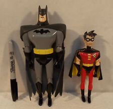 "Batman Animated Series JLU DC Quick Europe Fast Food 8"" Batman & 6"" Robin Figure"