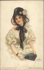 Beautiful Woman Hat & Fan - Alice Luella Fidler American Girl #17 Postcard