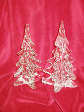 """2 VTG FREE FORM SOLID ART GLASS/LEAD CRYSTAL 8"""" TALL CHRISTMAS TREES~EXQUISITE!!"""