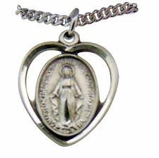 "Sterling Silver 13/16"" Miraculous Mary Heart Medal w/ 18"" Chain Made in USA"