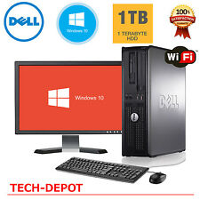 "Dell Desktop PC Computer Windows 10 Core 2 Duo 8GB RAM 1TB HD 19"" Monitor WIFI"