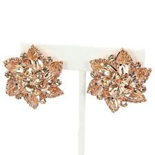 "1.50"" rose gold floral crystal rhinestone clip on earrings non pierced"