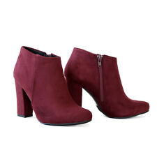 Fall Chic Outfit Faux Suede Ankle Boots Booties with Covered Block HeelSize 7