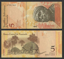 VENEZUELA 2011 5 BOLIVARES CURRENCY P-NEW UNCIRCULATED  ARMADILLOS