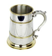 Brass Finish 1 Pint Pewter Tankard with Ornate Handle