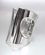 CHIC UNIQUE & GORGEOUS Shiny Silver Metal WIDE Hinged Cuff STATEMENT Bracelet