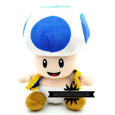 SUPER MARIO BROS. TOAD BLU PELUCHE plush  fungo kart wii u party blue bleu peach
