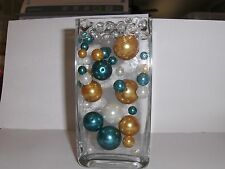 34 WHITE,TEAL & GOLD Pearl Beads WEDDING DECOR CENTERPIECES  w/FREE JellybeadZ