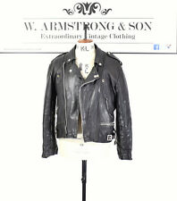 Men's VINTAGE Black GENUINE LEATHER Biker Racing PUNK Moto 80's Jacket UK M