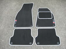 Dark Grey/Silver SUPER VELOUR Car Mats - Audi A4 (B6+B7 01-08) + S-Line Logos x2