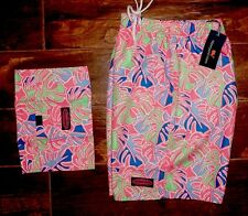 NEW TAGS Men's Vineyard Vines Chappy Swim Trunks Tropical Leaves Shorts Large