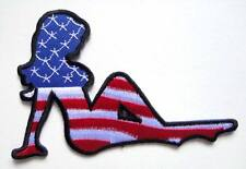 USA COLOR FLAG SEXY GIRL LADY WOMAN BIKER Embroidered Iron on Patch Free Postage